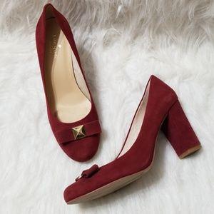 Kate Spade suede burgundy block heel pumps
